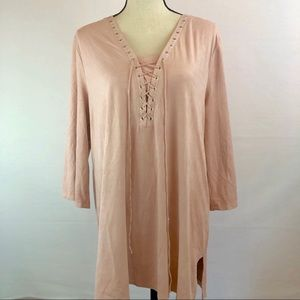 Style and Co. Pale Pink Faux Suede Tunic - Large